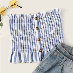 Frill Trim Buttoned Shirred Striped Bandeau Top